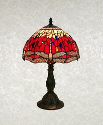 Style Red Multi Color Stained Glass Dragonfly Table Lamp Shade 12