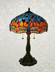 Style Blue And Red Handcrafted Glass Dragonfly Table Lamp Shade 16