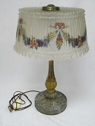 Antique Pittsburgh Lamp Brass Glass Co Floral Reverse Painted Glass Table Lamp