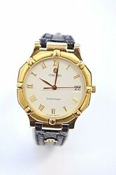 W205 Concord Saratoga Menand039s 18k Gold Case Leather Watch 50.14.247g