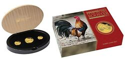 2017 Australia Lunar Year Of The Rooster Gold Proof 3-coin Set 1oz 1/4oz 1/10oz