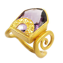 3408-vintage Look 18k Yellow Gold Amethyst Ring Aprx 11.27cts 12.6grams Size 7.5