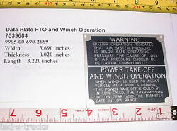 Military Truck Data Plate Pto And Winch Operation 7539684 9905-00-690-2689