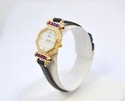 W467- Ladies 14k Yellow Gold Vintage Allegro Diamond And Ruby Leather Watch