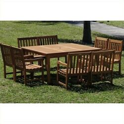 International Home Amazonia 9 Piece Wood Patio Dining Set In Brown