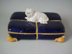 George Jones Majolica Terrier on Cushion Inkstand