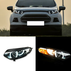 2pcs Xenon Headlights+LED Halo Ring+Lens+Turn signal for Ford Ecosport 2013-2014