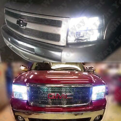 8x High Low Beam Headlight + Switchback LED Bulbs For 2007-2013 Silverado Sierra