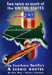 Original Vintage Poster Southern Pacific Railroad Travel United States American