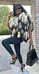 New Fab Designer Custom Made Kit fox tails Fur Vest coat Jacket bolero S-M 0-10