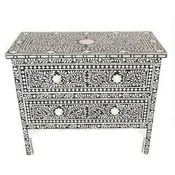 Indian Bone Inlay Chest Of Drawers ,black
