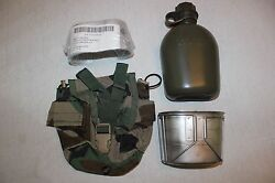 Us Military Issue Canteen Pouch With Cup And Cover With Stove Complete Set Lot