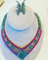 New Natural Emerald, Ruby, Champagne Zircon, White Topaz Necklace And Earrings Set