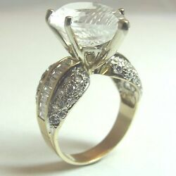 14k 2 Tone Diamond Ring W Pear Shape Crystal. Baguettes And Round Diamonds.