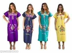 Any Color HAND Embroidered Mexican Dress Vintage Tunic Peasant SMALL TO PLUS