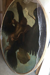 Antique Round Oil Painting Of An Angel On Canvas Wooden Frame Very Old 72 Inches