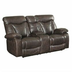 Bowery Hill Faux Leather Glider Reclining Loveseat In Dark Brown