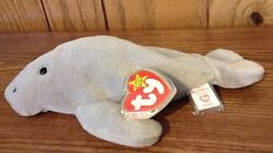 Ty Manny The Manatee Beanie Baby,1995 Style 4081+tush Coverpvc,no Star,no Stamp