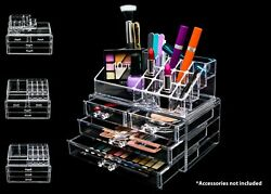 Acrylic Makeup Cosmetic Clear Case Jewelry 2 Piece Storage Drawer Organizer $19.99