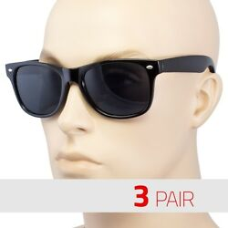 3 Pair Men Women Sunglasses Style Black Frame Dark Lens Usa O $10.99