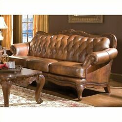 Coaster Victoria Leather Tufted Sofa With Rolled Arms In Warm Brown