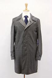 NWT Tom Ford Men's 100% Wool Gray Check Reversible Trench Coat Size 4838US