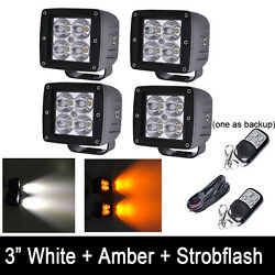 4x Amber/White/Strobe Dual Color LED Work Light Cube 3X3