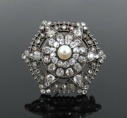 Antique 6.0ct Old Mine Cut Diamond And Natural Pearl Silver And Gold Star Brooch