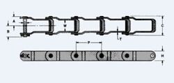 P662 X 10ft Pintle Chain, With Pin And Cotter Link 662 Manure Sand Spreader Chain