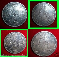 Error Uk 1889 Great Britain Double Florin Unusual One - I Used Instead 1