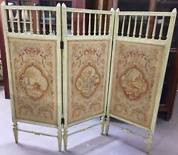 Antique Italian Dressing Screen Room Divider W/petit Point Tapestry
