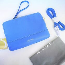 New OROTON Bueno Double Clutch Cross Body Bag Wristlet Leather Blue RRP$345