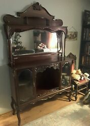 Antique Early 1900and039s Victorian Mitchell Mahogany Sideboard Curio Cabinet