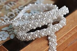 1 Yard Pearl Beaded Trim Wedding Bridal Pearl Applique Belt for DIY Bridal Sash