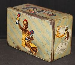 Coffee Tin Old Used Vintage Store Bin Moretto Large Italy Black Boy Litho Sign
