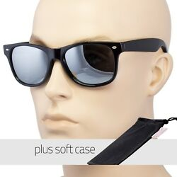 Men Women Sunglasses Style Black Frame Dark Mirror Lens Pouch $8.79