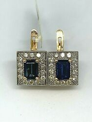 Russian Style 585 Rose Gold Diamond Earrings With Sapphires