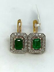 Russian Style 585 Rose Gold Diamond Earrings With Emerald