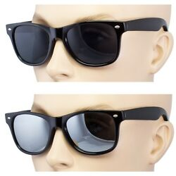 2 Pair Men Women Sunglasses Style Black Frame Dark Lens Mirror $9.89