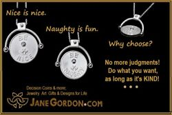 New Decision Coin Spinner Necklace Be Naughty/ Be Nice Sterling Silver Diamond