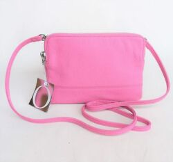 RRP$345 New OROTON Bueno Double Clutch Crossbody Bag Wristlet Leather Pink