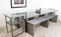 Philip Plein Steel Dining Set with Benches and Chairs