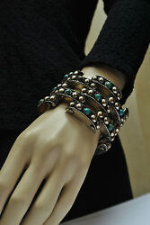 Huge Vintage Casa Prieto Mexico Sterling Silver Turquoise Bracelet - Circa 40and039s