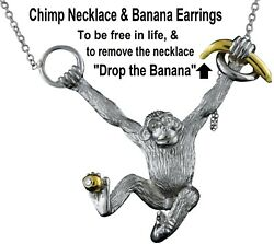 Chimpanzee Necklace 18k Gold Sterling Silver And Diamond Drop The Banana Let Go