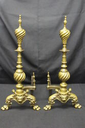 Circa 1900 Century Regency Style Andirons With Lion Masks And Paw Feet