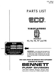 Eco Tireflator 93 94 95 97 98 Factory Parts List Gas Station Tire Air Meter Pump