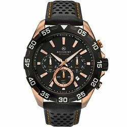 Accurist 7042.01 Menand039s Black Strap Chronograph Rose Gold Plated Watch New