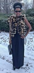 New Custom Designer Sable brown color Raccoon Fur tails Vest coat jacket S 0-6