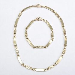 Jewelry Set Made Of Chain And Bracelet 14 Carat /585 Yellow Gold, 47,1 Gram