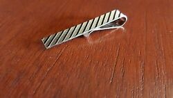 Solid Sterling Silver Textured Mens Tie Bar - 4.2 Grams